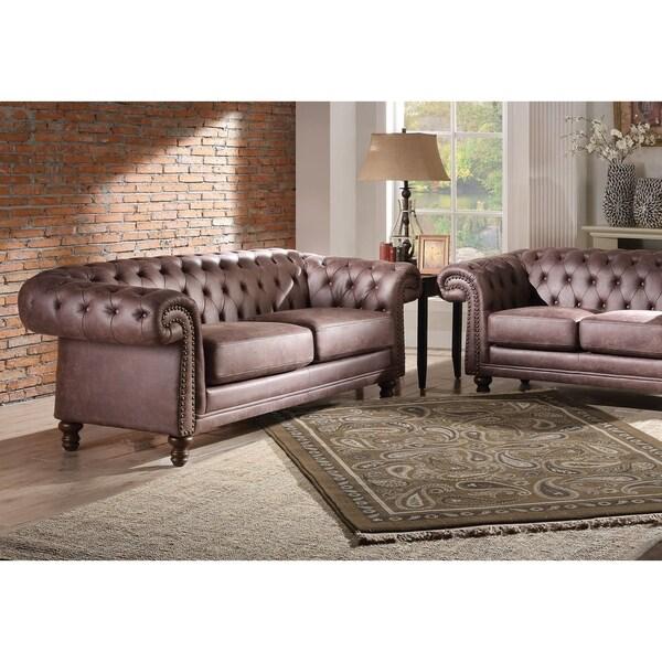 Shop Acme Shantoria Ii Sofa In Brown Polished Microfiber Free