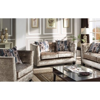 Acme Juliana Down Feather Loveseat with 2 Pillows in Champagne Fabric