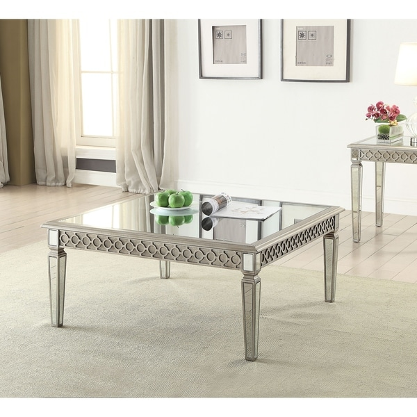 Shop Acme Kacela Mirrored Coffee Table In Champagne