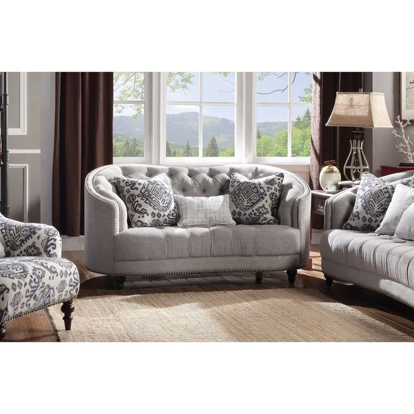 Shop Acme Saira Down Feather Loveseat In Light Gray Fabric