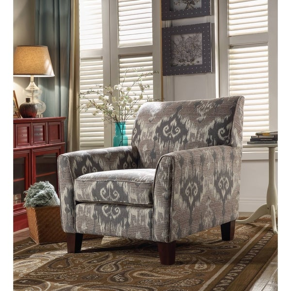 Acme Cyndi Accent Arm Chair In Ikat Pattern Fabric