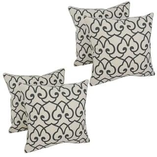 Blazing Needles 17-inch Black Lattice Throw Pillow (Set of 4)