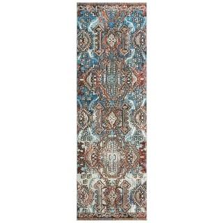 Safavieh Harmony Zoey Vintage Boho Oriental Rug (22 x 7 Runner - Blue/Light Blue)