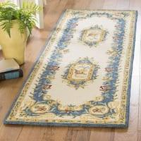 Safavieh Handmade Micro Loop Transitional Cream / Blue Wool Rug (2'3' x 7')