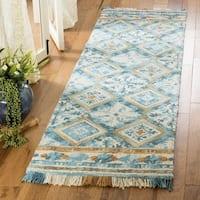 Safavieh Handmade Blossom Contemporary Ivory / Teal Wool Rug (2'3' x 8') - 2'3 x 8'