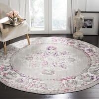"""Safavieh Skyler Contemporary Grey / Pink Rug - 6'-7"""" x 6'-7"""" round"""