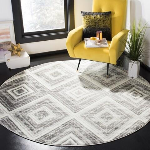 """Safavieh Skyler Contemporary Grey / Ivory Rug (6'7' x 6'7' Round) - 6'-7"""" x 6'-7"""" round"""