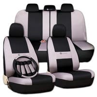 Zone Tech Gray and Black Car Universal Fit Cover Seat Covers + Steering Wheel Cover + 4 Seat Belt Co