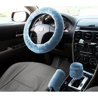 Zone Tech Non-slip Car Decoration Steering Wheel Handbrake Gear Shift Plush Cover (Blue)