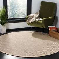 Safavieh Natural Fiber Contemporary Black / Ivory Seagrass Rug - 6' Round