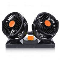 Zone Tech 12V Dual Head Car Auto Cooling Air Fan - Powerful Quiet 2 Speed  Dashboard Electric Fans with Kids Safe Design