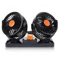 Zone Tech 12V Dual Head Car Auto Cooling Air Fan - Powerful 2 Speed Rotatable 12V Ventilation