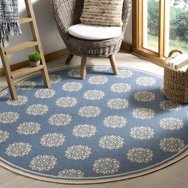 Safavieh Linden Contemporary Cream / Blue Rug (6'7' x 6'7' Round)