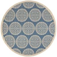 """Safavieh Linden Contemporary Blue / Creme Rug (6'7' x 6'7' Round) - 6'-7"""" x 6'-7"""" round"""