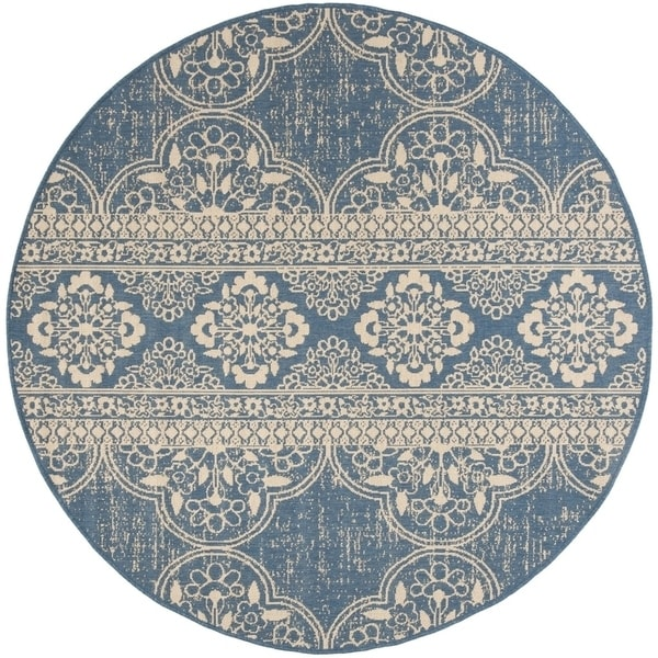 """Safavieh Linden Contemporary Cream / Blue Rug (6'7' x 6'7' Round) - 6'-7"""" x 6'-7"""" round"""