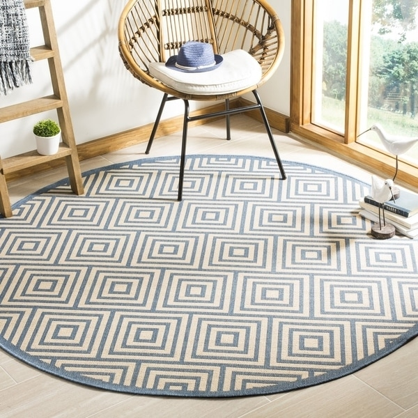 "Safavieh Linden Contemporary Cream / Blue Rug (6'7' x 6'7' Round) - 6'-7"" x 6'-7"" round"