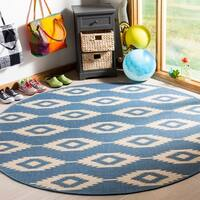 Safavieh Linden Contemporary Cream / Blue Rug - 6'7 Round