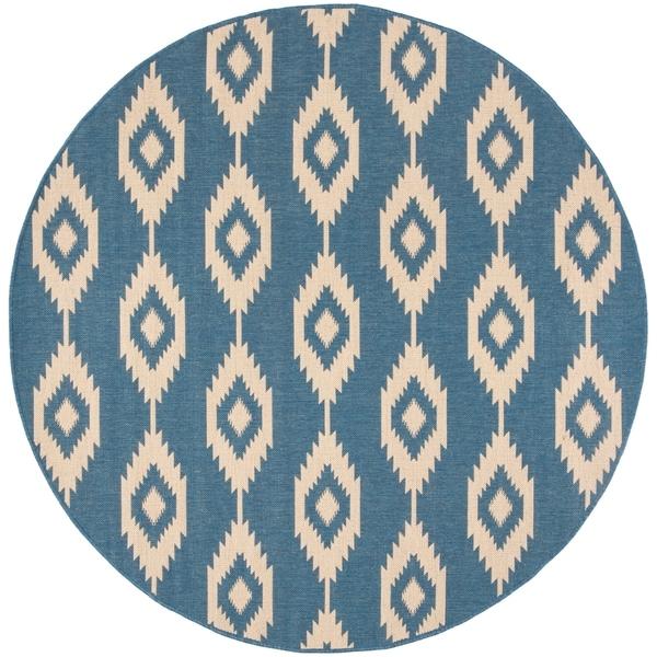 Safavieh Linden Contemporary Cream / Blue Rug - 6'7 Round