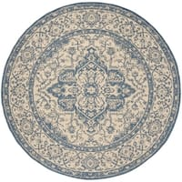 "Safavieh Linden Contemporary Cream / Blue Rug - 6'-7"" x 6'-7"" round"