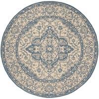 "Safavieh Linden Contemporary Cream / Blue Rug - 6'7"" x 6'7"" round"