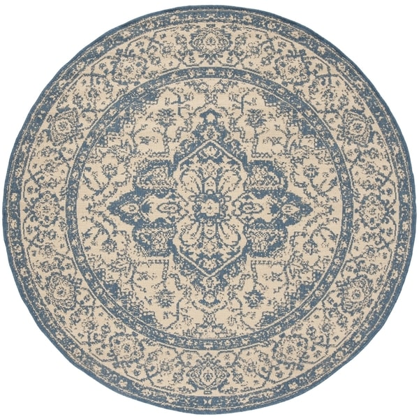 Safavieh Linden Contemporary Cream / Blue Rug (6'7' x 6'7' Round)