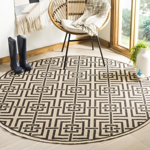 """Safavieh Linden Contemporary Creme / Black Rug (6'7' x 6'7' Round) - 6'-7"""" x 6'-7"""" round"""