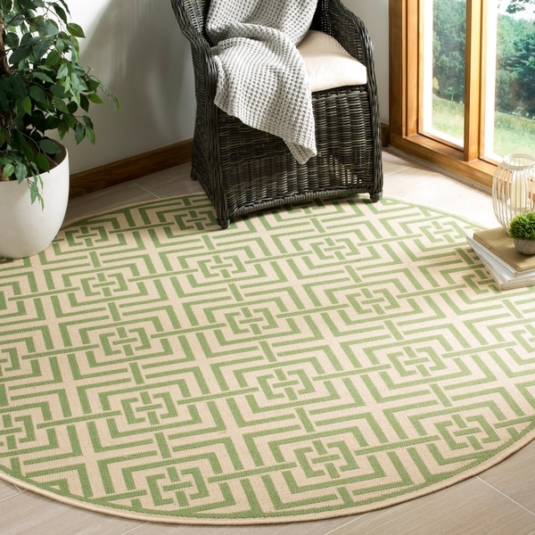 Safavieh Linden Contemporary Cream / Olive Rug - 6'7 Round