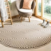 Safavieh Linden Contemporary Creme / Brown Rug - 6'7 Round