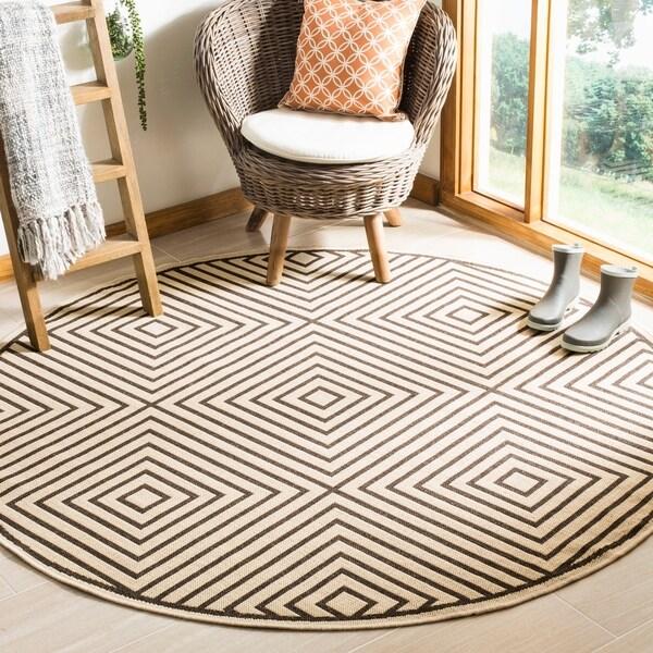 Safavieh Linden Contemporary Creme / Brown Rug (6'7' x 6'7' Round)