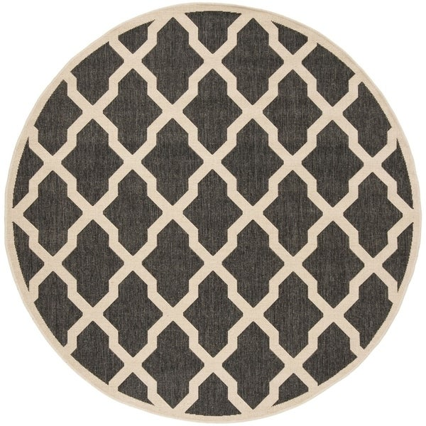 "Safavieh Linden Contemporary Black / Creme Rug - 6'-7"" x 6'-7"" round"
