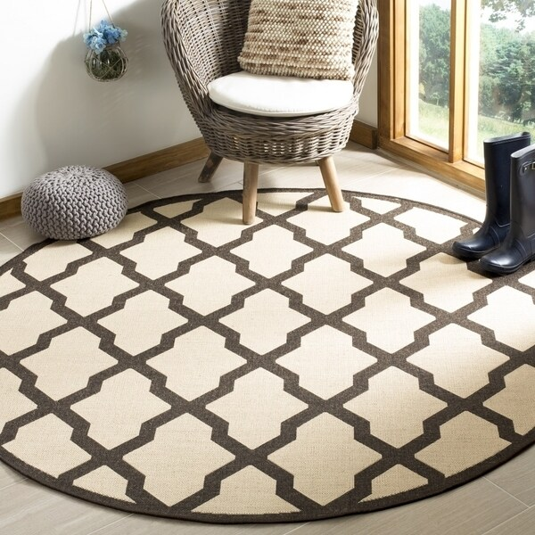 "Safavieh Linden Contemporary Creme / Brown Rug - 6'-7"" x 6'-7"" round"