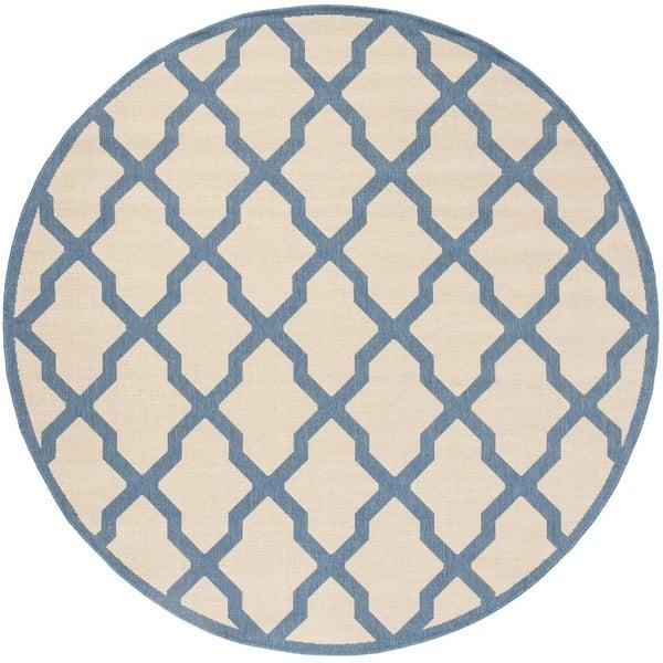 "Safavieh Linden Contemporary Cream / Blue Rug - 6'-7"" x 6'-7"" round"