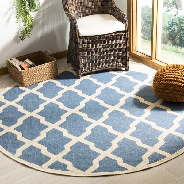 Safavieh Linden Contemporary Blue / Creme Rug (6'7' x 6'7' Round)