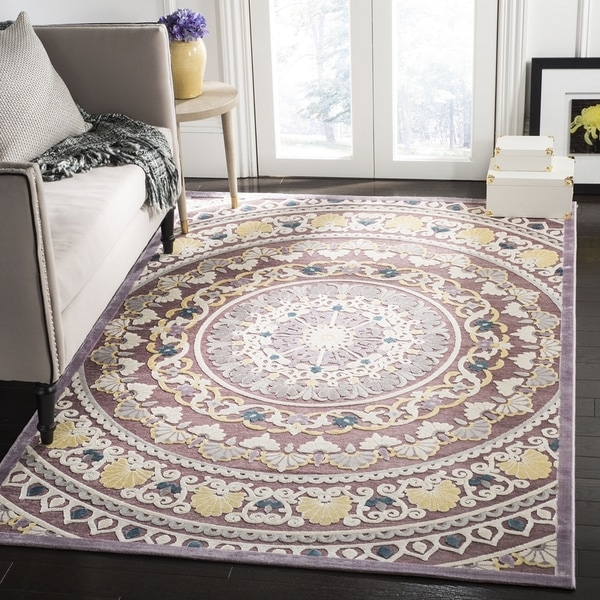 Safavieh Paradise Contemporary Purple / Cream Viscose Rug (6'7' x 6'7' Square)
