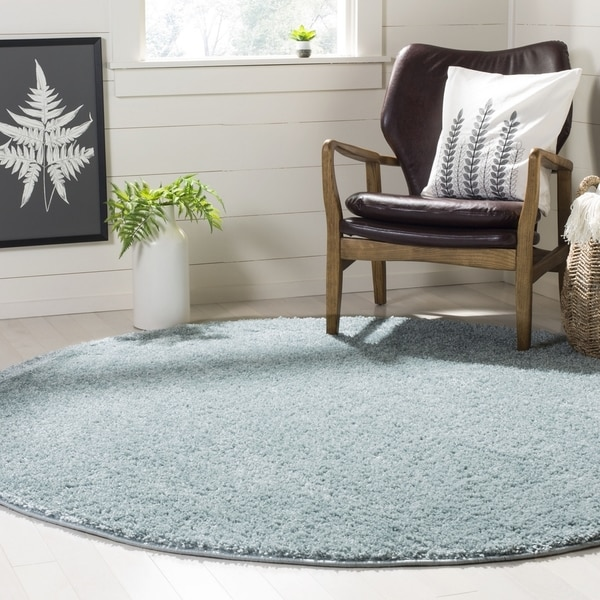 Safavieh New York Shag Blue Rug (6'7' x 6'7' Round)