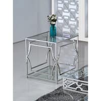 Best Master Furniture Stainless Steel Glass End Table
