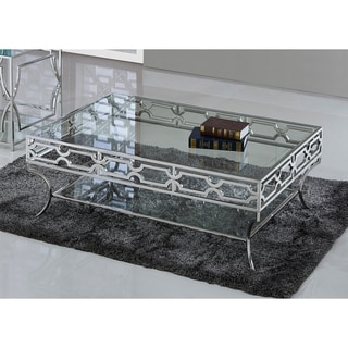 Best Master Furniture Stainless Steel Glass Coffee Table