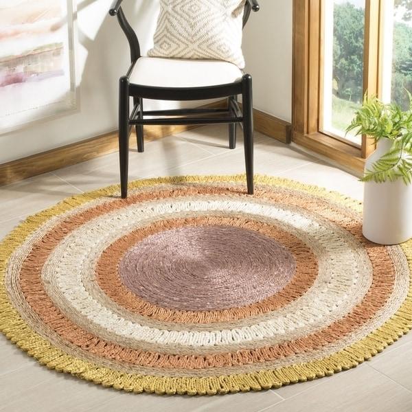 Safavieh Hand-Woven Natural Fiber Contemporary Gold / Multi Jute Rug (7' x 7' Round) - 7' x 7' Round