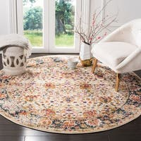 Safavieh Madison Vintage Cream / Navy Rug (6'7' x 6'7' Round)