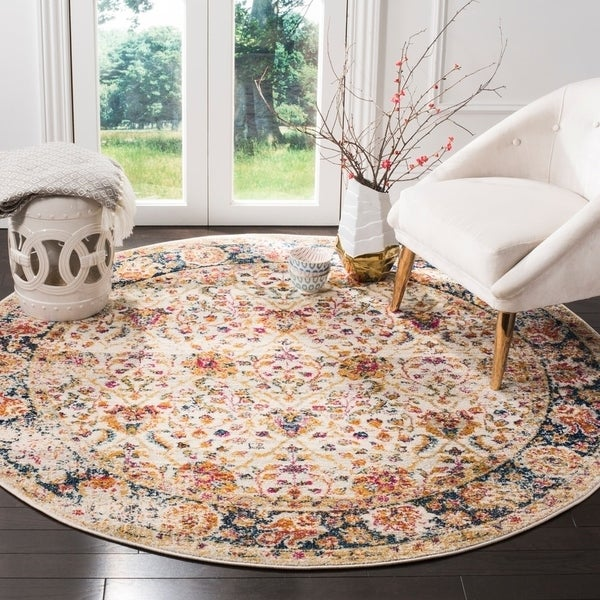 "Safavieh Madison Vintage Cream / Navy Rug (6'7' x 6'7' Round) - 6'-7"" x 6'-7"" round"