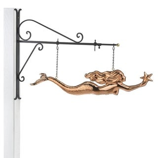 Hanging Mermaid with Starfish Pure Copper Weathervane Sign with Decorative Bracket Nautical Decor by Good Directions
