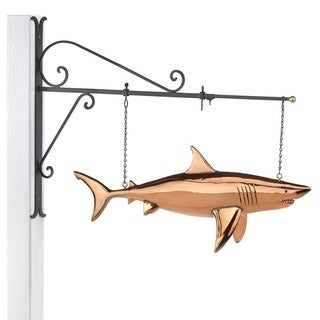 Hanging Shark Pure Copper Weathervane Sign with Decorative Bracket Nautical Decor by Good Directions
