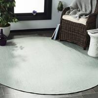 "Safavieh Courtyard Contemporary Aqua / Cream Indoor/Outdoor Rug (6'7' x 6'7' Round) - 6'-7"" x 6'-7"" round"