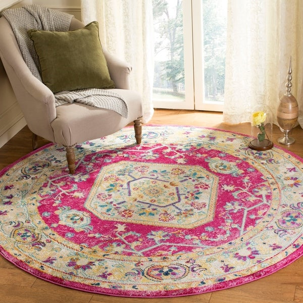 Safavieh Savannah Traditional Violet / Violet Polyester Rug - 7' Round