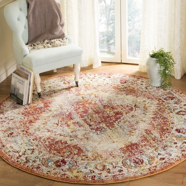 Safavieh Savannah Traditional Orange / Orange Polyester Rug (7' x 7' Round)