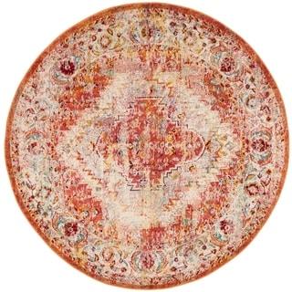 Safavieh Savannah Lamiaa Boho Oriental Polyester Rug (7' x 7' Round - Orange)