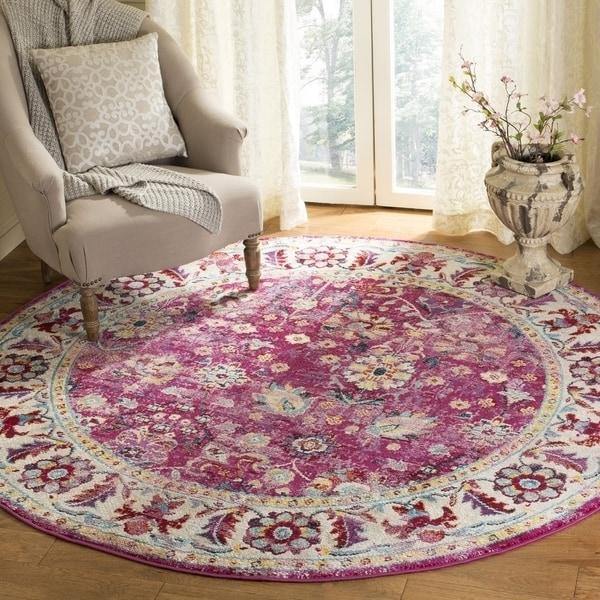 Safavieh Savannah Traditional Violet / Grey Polyester Rug (7' x 7' Round) - 7' x 7' Round