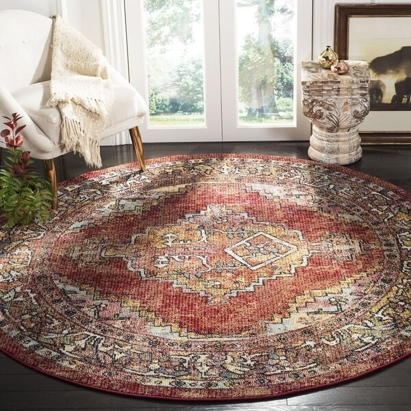 Safavieh Savannah Traditional Red / Red Polyester Rug (7' x 7' Round) - 7' x 7' Round