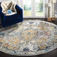 Safavieh Savannah Traditional Grey / Navy Polyester Rug (7' x 7' Round)