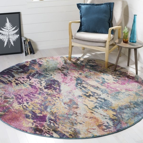 Safavieh Savannah Traditional Blue / Grey Polyester Rug (7' x 7' Round)